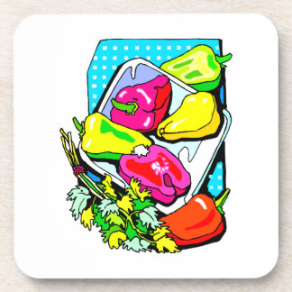 Several peppers and veggies graphic coaster