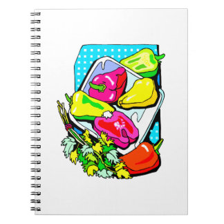 Several peppers and veggies graphic notebook