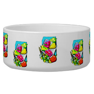Several peppers and veggies graphic dog food bowl