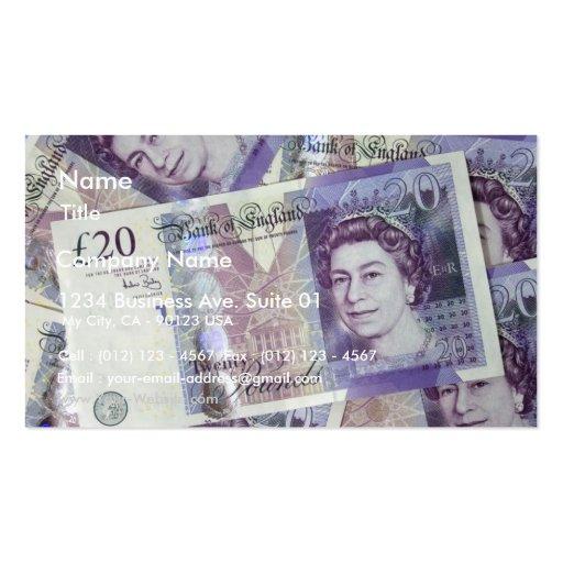 Several Pound Bills New British0 Pounds Money Business Card