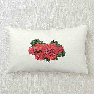 Several Red Geraniums Lumbar Pillow