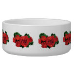 Several Red Geraniums Pet Water Bowls