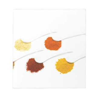 Several seasoning spices on porcelain spoons notepad