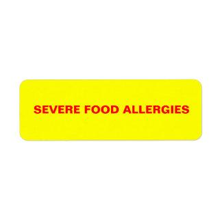 Severe Food Allergies Label