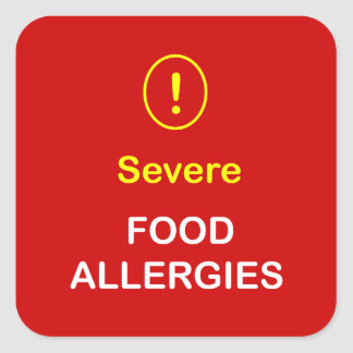 Severe Food Allergies. Square Sticker