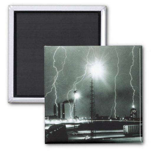 Severe Lightning in Boston 2 Inch Square Magnet