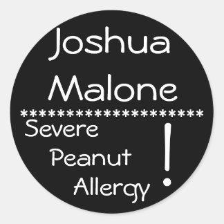 Severe Peanut Allergy Label