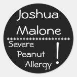 Severe Peanut Allergy Label Round Stickers