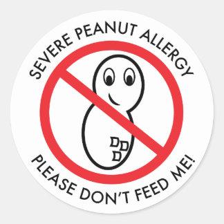 Severe Peanut Allergy Sticker (set of 6) Round Stickers