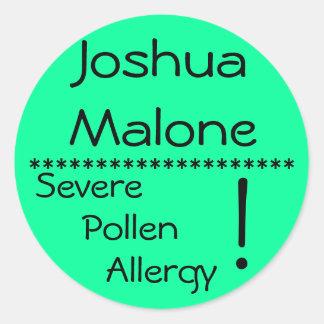 Severe Pollen Allergy Label** Classic Round Sticker