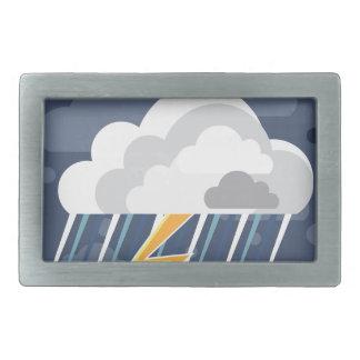 Severe Weather Storm Icon Rectangular Belt Buckle