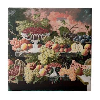 Severin Roesen - aún vida de dos pisos con la frut Azulejo Ceramica