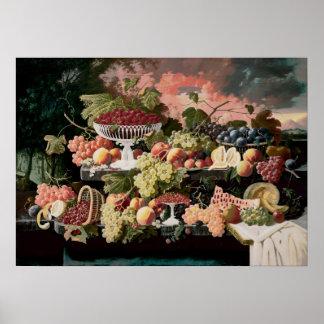 Severin Roesen - aún vida de dos pisos con la frut Poster