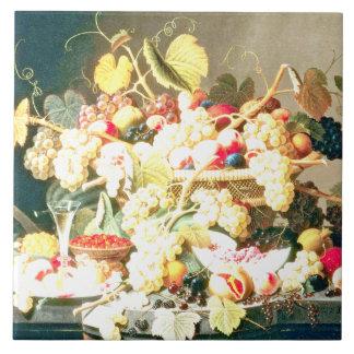 Severin Roesen - todavía vida con la fruta Azulejo Cuadrado Grande
