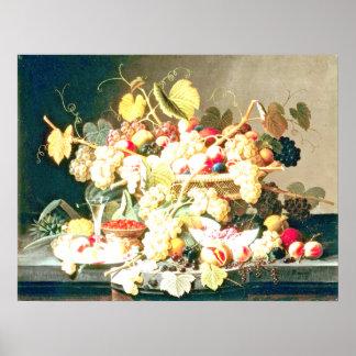 Severin Roesen - todavía vida con la fruta Poster