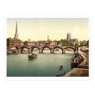Severn Bridge, Worcester, England Vintage Postcard