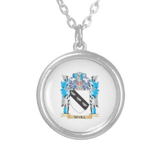 Sevill Coat of Arms - Family Crest Round Pendant Necklace