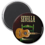 Sevilla Guitarra española con Giralda de Sevilla Imán Redondo 5 Cm