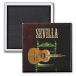 Sevilla Guitarra española con Giralda de Sevilla Imán Cuadrado