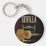 SEVILLA. Guitarra flamenca con Giralda de Sevilla. Llavero Redondo Tipo Pin