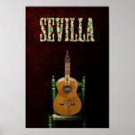 SEVILLA. Guitarra flamenca con Giralda de Sevilla. Posters