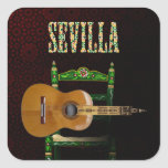 SEVILLA. Guitarra flamenca con Giralda de Sevilla. Pegatina Cuadrada
