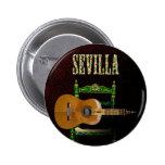 SEVILLA. Guitarra flamenca con Giralda de Sevilla. Pin Redondo 5 Cm