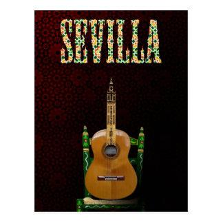 SEVILLA Guitarra flamenca con Giralda de Sevilla Tarjetas Postales