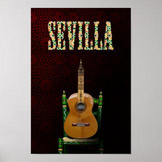 SEVILLA. Guitarra flamenca con Giralda de Sevilla. Póster