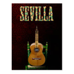 SEVILLA. Guitarra flamenca con Giralda de Sevilla. Tarjetas Postales
