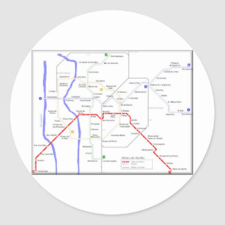Sevilla Metro Map Classic Round Sticker