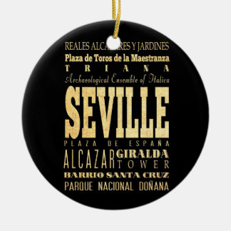 Seville City of Spain Typography Art Double-Sided Ceramic Round Christmas Ornament