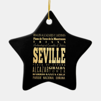 Seville City of Spain Typography Art Double-Sided Star Ceramic Christmas Ornament
