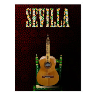 SEVILLE. Flamenco guitar with Giralda of Seville Postcard