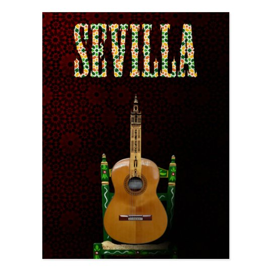 SEVILLE. Flamenco guitar with Giralda of Seville Postcard