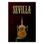 SEVILLE. Flamenco guitar with Giralda of Seville Poster