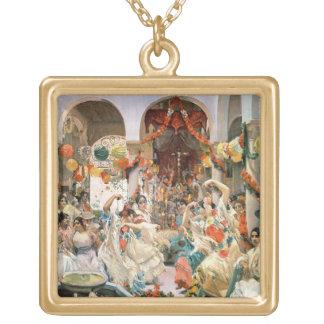 Seville (oil on canvas) square pendant necklace