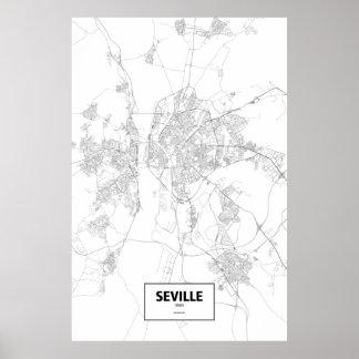 Seville, Spain (black on white) Posters