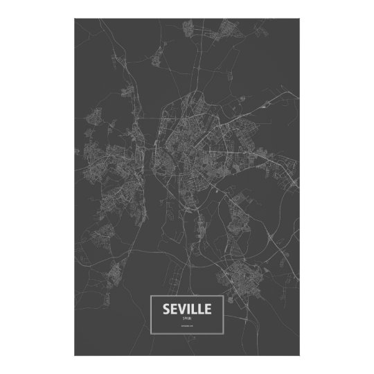 Seville, Spain (white on black) Poster