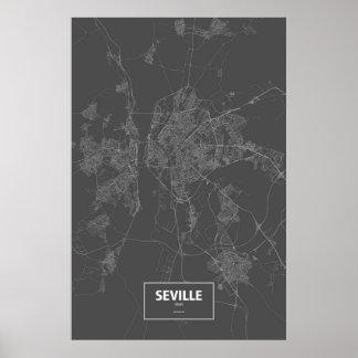 Seville, Spain (white on black) Posters