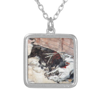 Seville. The bullfight. by Vasily Surikov Square Pendant Necklace