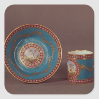Sevres bleu celeste coffee cup and saucer, c.1780 square sticker