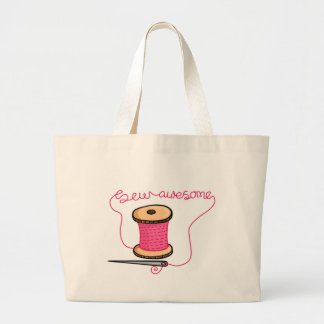 Sew awesome needle and cotton jumbo tote bag