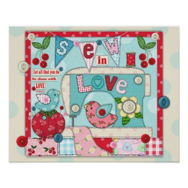 "Art Themed ""Sew in Love"" Inspirational Sewing Themed Poster"