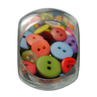 Sew Many Buttons Glass Jar