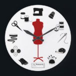 "Sew Right Large Clock<br><div class=""desc"">Here's my special collection of tools and supplies for fellow fiber artists for sewing, tailoring, dressmaking, needlework, darning, and crafts: sewing needles, spools of thread, pin cushion with stick pins, ribbons, bobbins, thimble, tape measure, embroidery scissors, bolt of cloth, tailor's model, sewing machine, label and buttons. A thoughtful gift for...</div>"