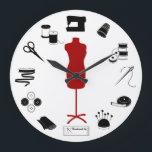 """Sew Right Large Clock<br><div class=""""desc"""">Here's my special collection of tools and supplies for fellow fiber artists for sewing, tailoring, dressmaking, needlework, darning, and crafts: sewing needles, spools of thread, pin cushion with stick pins, ribbons, bobbins, thimble, tape measure, embroidery scissors, bolt of cloth, tailor's model, sewing machine, label and buttons. A thoughtful gift for...</div>"""