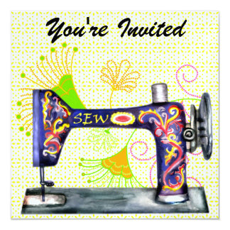 """Sew So Pretty Invitation - SRF 5.25"""" Square Invitation Card"""