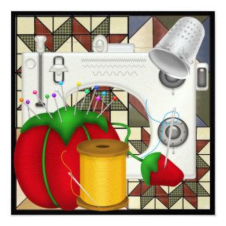 """Sew So Pretty Invite - SRF 5.25"""" Square Invitation Card"""