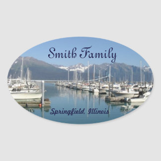 Seward Harbor, Alaska Oval Sticker